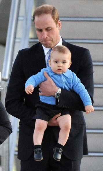 April 2014: The adorable youngster caught the eye of the photographers as he disembarked the plane in Australia with dad William.