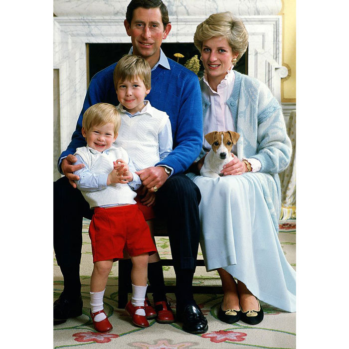 Harry couldn't contain his excitement posing with his parents, Prince Charles and Princess Diana, along with his big brother Prince William and their Jack Russell Terrier.