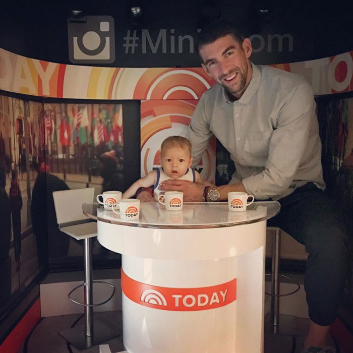 "The camera loves him! Boomer looked like a natural behind the desk as he joined his Olympian father at NBC's the <i>Today</i> show. The little's boy's Instagram noted: ""Watch @mattlauernbc and @carsondaly I'm coming for ya!! @todayshow.""