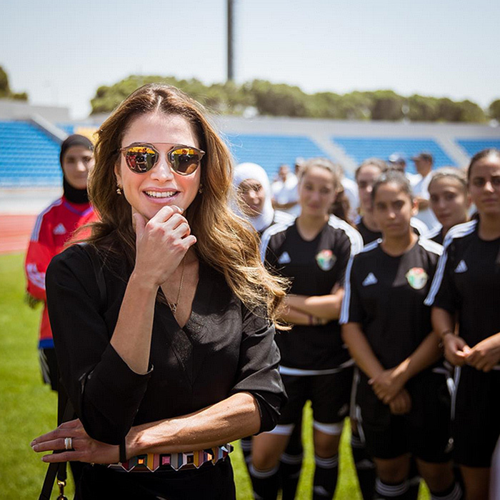 "Coolest soccer mom ever? Mother-of-four Queen Rania of Jordan visited with the country's National U17 Women's Football team as they train for the Women's World Cup in Jordan next month. ""The first ever FIFA tournament to take place in the Middle East! Good luck to our girls!"" said the royal.