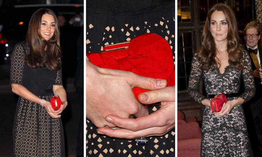 Kate also loves this scarlet red Alexander McQueen clutch. It adds a nice pop of color to her otherwise classic pieces.