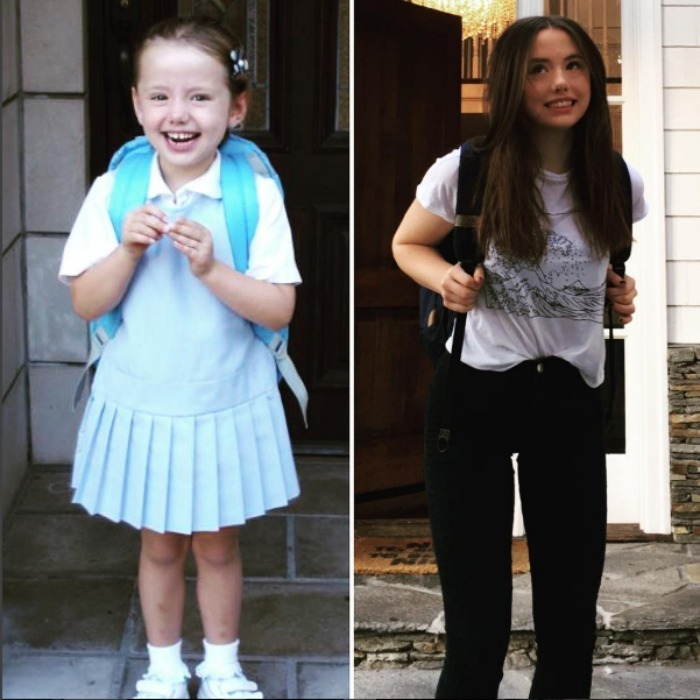 Flash back to school! Kate Beckinsale celebrated her 17-year-old daughter Lily's last first day of school, with a side-by-side photo featuring her teen on her very first day of school and now. Lily was a good sport flashing her same cheeky smile in both photos. 