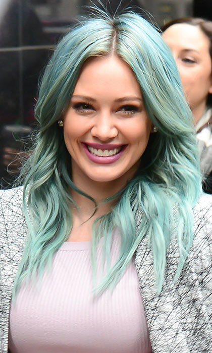 <b>Hilary Duff</b>'s turquoise blue looks totally beach ready - the ultimate mermaid hair. 