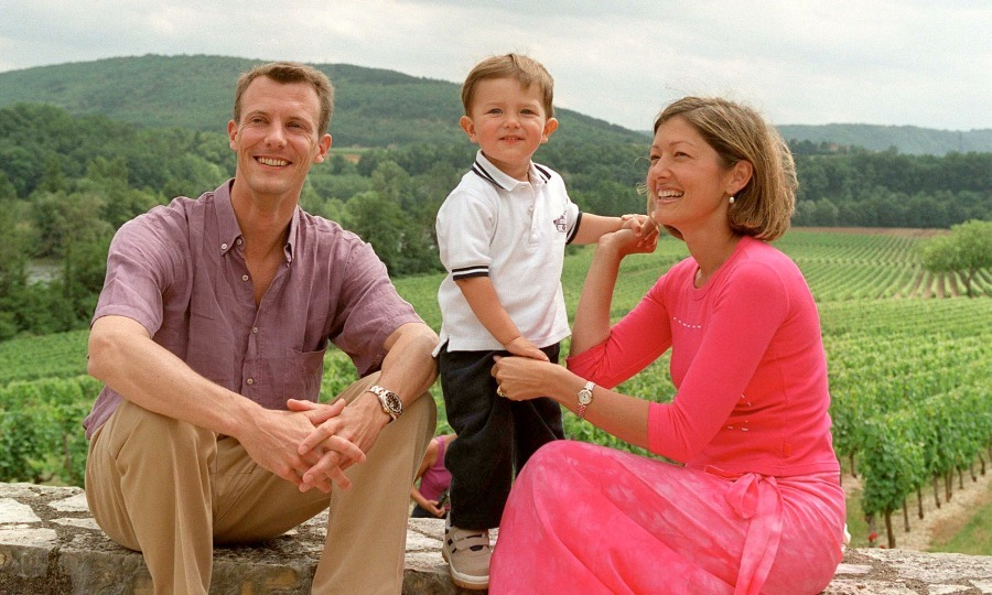 Prince Nikolai posed with his parents, Prince Joachim and Princess Alexandra during a photocall in their summer house in France in 2001. 