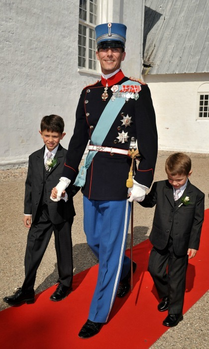 "Best men!  In 2008, Nikolai and Felix walked hand in hand with their father before he said ""I do"" to Princess Marie in Mogeltonder, Denmark.