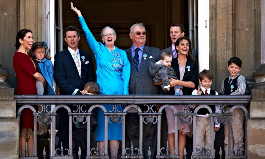 It's a celebration! Nikolai, on the far right, joined the Danish royal family on the Palace balcony during Queen Margrethe's 70th birthday in 2010.