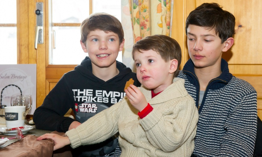 Brother bonding time! Nikolai sat with his brothers Felix and Henrik during the family vacation to Villars-sur-Ollon, Switzerland in 2014. 