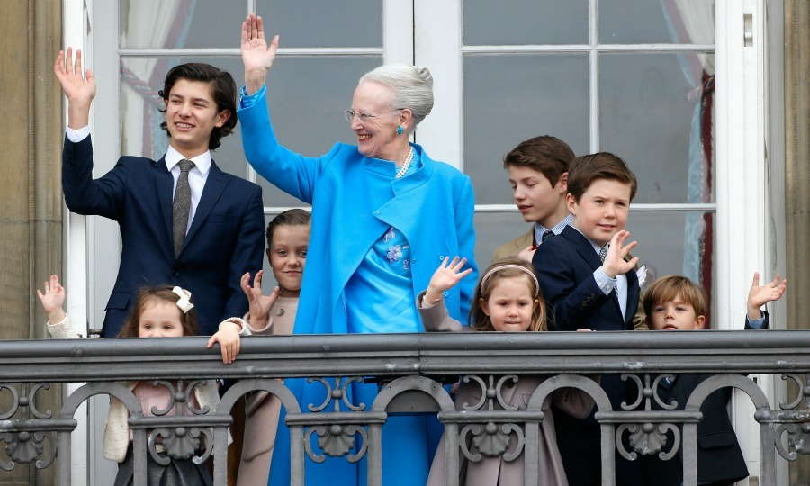 Nikolai looked all grown up as he stood next to his grandmother Queen Margrethe II and the rest of her grandchildren during her 76th birthday celebration in April. 