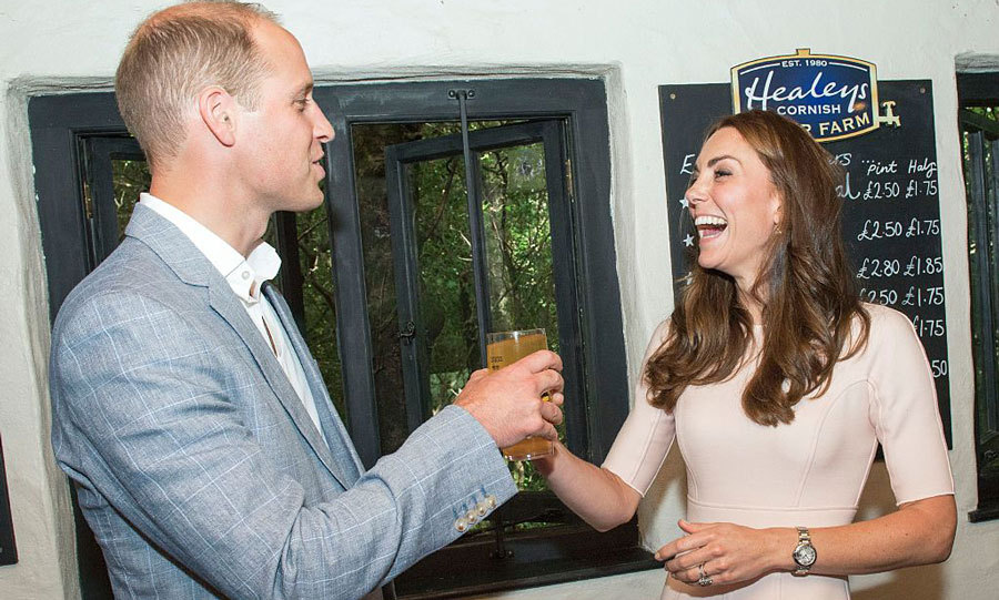 "Kate laughed as she presented her husband with a pint of cider at Healey's Cornish Cider Farm. After drinking the cider, which the Duchess poured, William said it tasted ""just like it does in the pub."" 
