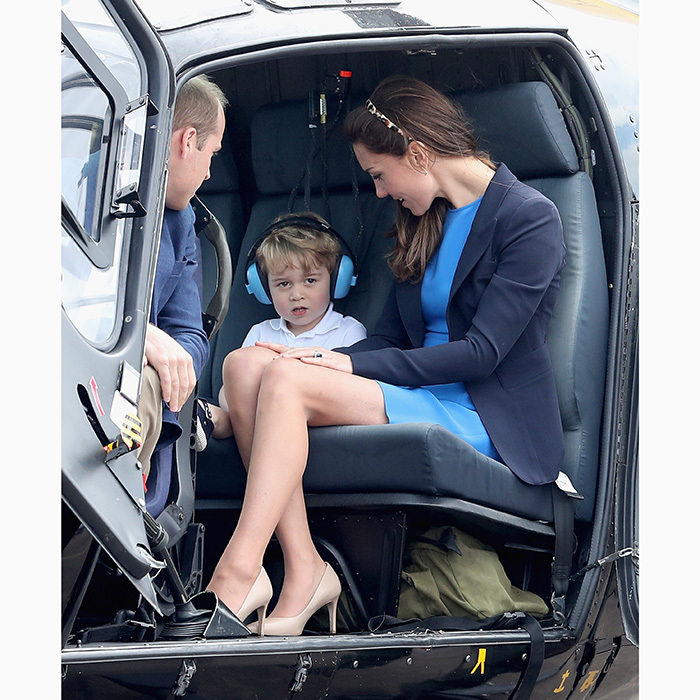 Wearing ear protectors, the little Prince was ready for some excitement with mom and dad during a visit to the Royal International Air Tattoo at RAF Fairford, England, in July 2016.