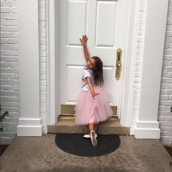 "Ivanka Trump's daughter Arabella looks like she's inherited a touch of glam from her mom! Her first day of school outfit choices included this pink tutu. ""Modeling potential first day of school outfits. (Soon I will need to break it to her that this will not comply with dress code.),"" her mom captioned this cute pic.