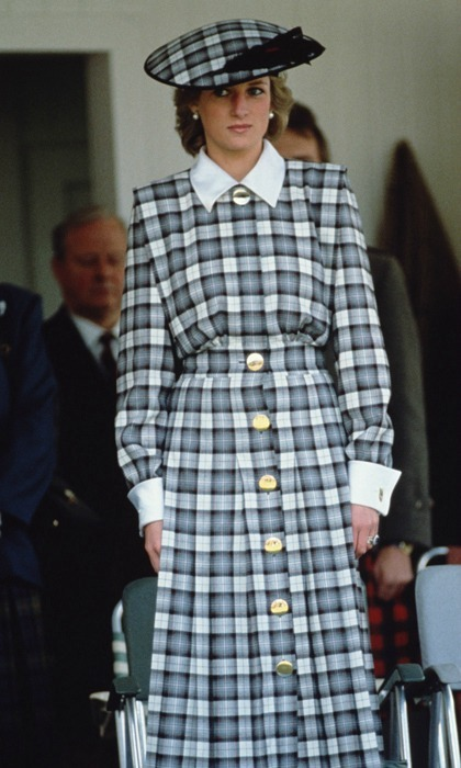 Princess Diana wore tartan from one of her favorite designers, Catherine Walker, when she attended the Braemer Games in September of 1989.