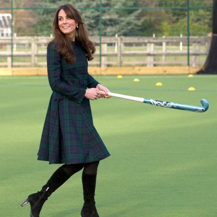 The Duchess of Cambridge showed off her sporty side (in heels!) when she marked St Andrew's Day in 2012. The brunette beauty wore a green tartan coat dress from Q by McQueen for the occasion.