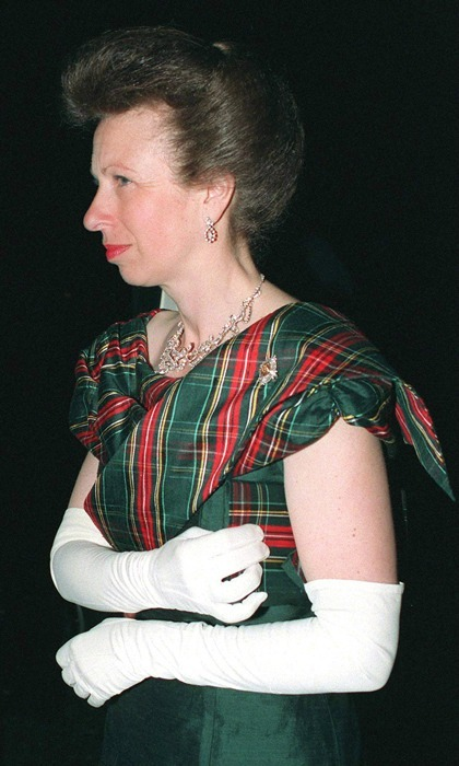 Capturing the spirit of the night, Princess Anne attended the 1995 Royal Caledonian Ball – a London-based fundraiser that benefits Scottish charities – in a tartan-topped dress. 