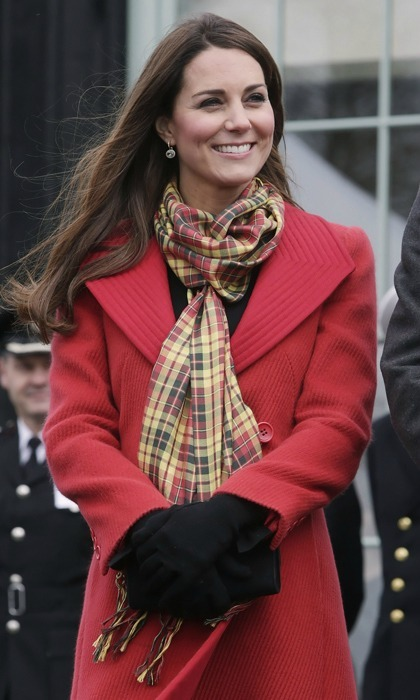 In Scotland, William and Kate are known as the Earl and Countess of Strathearn and Kate has drawn wardrobe inspiration from this alternative title, having worn a scarf made from Strathearn tartan several times. Here she is pictured during a 2013 visit to Dumfries House in Scotland, but she also selected the red, yellow and black accessory for the riverboat pageant during the Queen's Diamond Jubilee in 2012 and a visit to Edinburgh that same year.