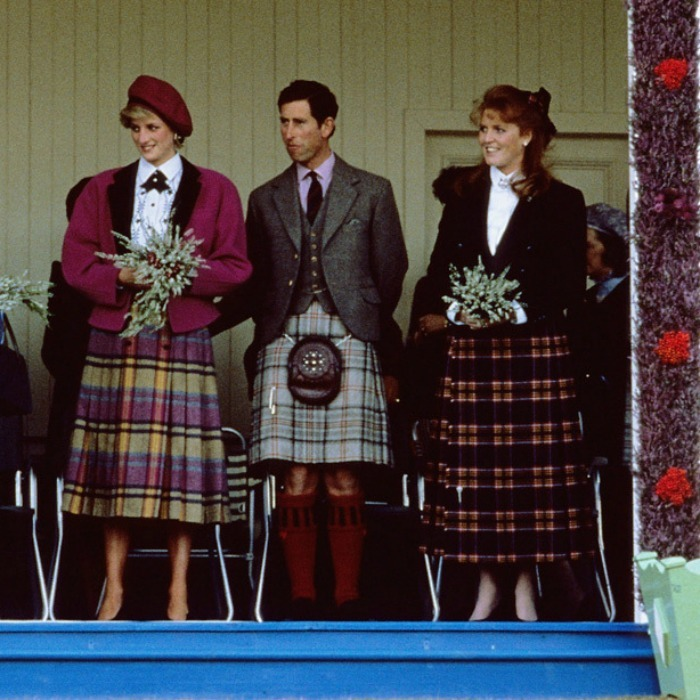 Princess Diana, Prince Charles and Sarah, Duchess of York sported different colors and styles of tartan when they attended the 1986 Braemar Games.