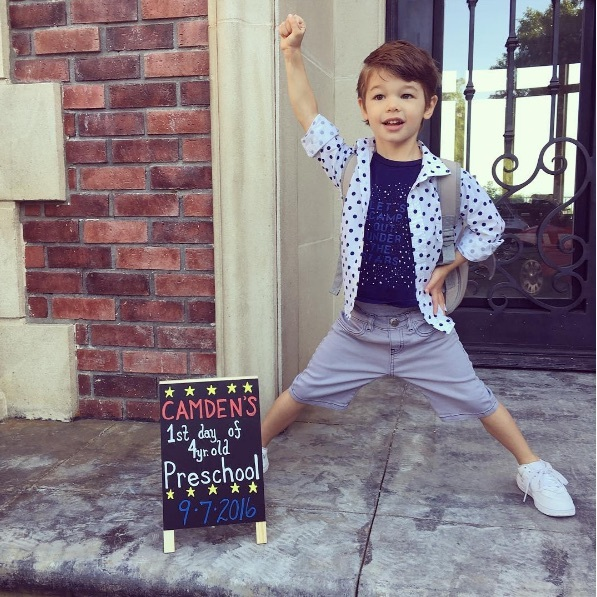 Nick and Vanessa Lachey's big boy is off to preschool. Vanessa, who is pregnant with their third child, shared this photo of their eldest child Camden ahead of his first day back.