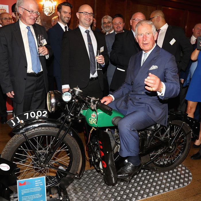 Prince Charles tested a new set of wheels! The royal sat on a 1933 BSA 500cc motorbike, which was used for delivering telegrams, during a reception to mark the 500th Anniversary of the Royal Mail.