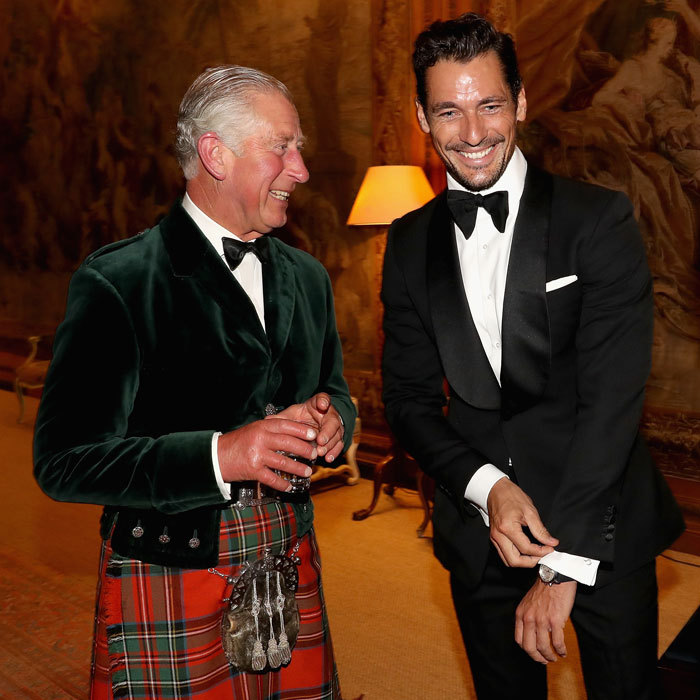 Prince Charles and supermodel David Gandy laughed it up at a private dinner ahead of the inaugural Dumfries House Wool Conference in Dumfries, Scotland. 