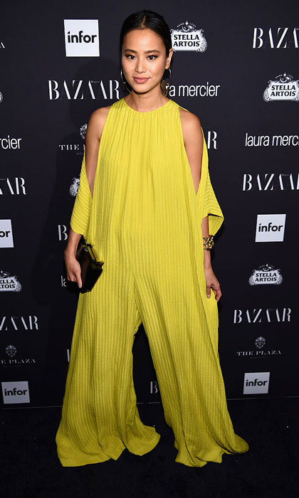 "<a href=""https://us.hellomagazine.com/tags/1/jamie-chung/""><strong>Jamie Chung</strong></a> added a pop of color to the Harper's Bazaar's celebration of ICONS By Carine Roitfeld party, wearing a vibrant jumpsuit by TOME NYC.