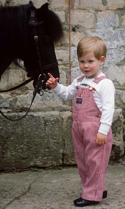 A boy and his pony! Harry looked precious in striped overalls as he posed with his furry mate named Smokey at Highgrove House.