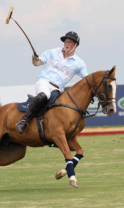 Playing for charity! Prince Harry showed off his polo skills during the 2012 Sentebale Royal Salute Polo Cup in Brazil. 