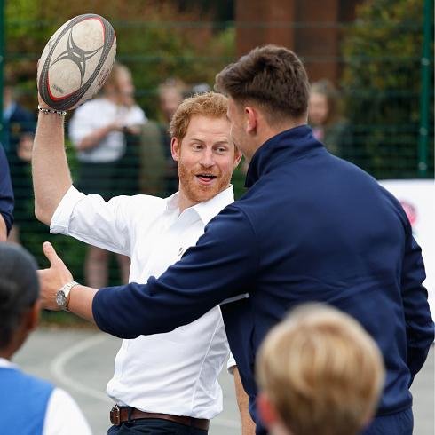 The fun-loving royal played a game of rugby during a 2016 visit to an RFU-backed community rugby program in Alexandra Park.