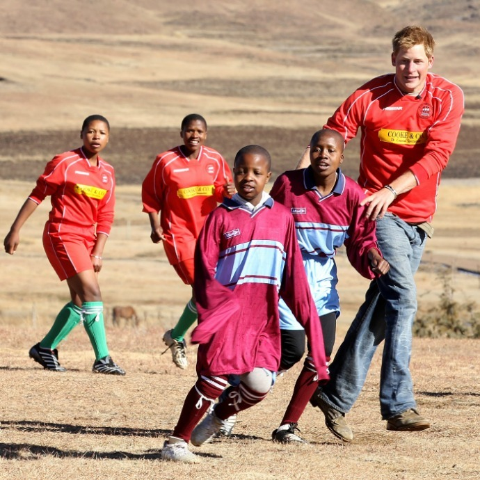 Never one to resist competition, Harry joined a group of boys during a visit to Semonkong, Lesotho in 2010. 