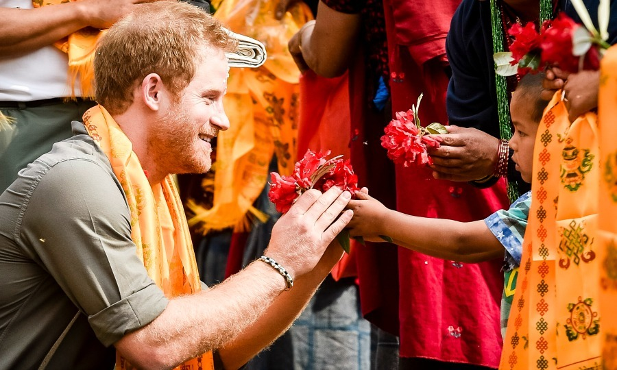 No gift too small! Harry received a flower from a small child during his visit to Nepal in 2016. 
