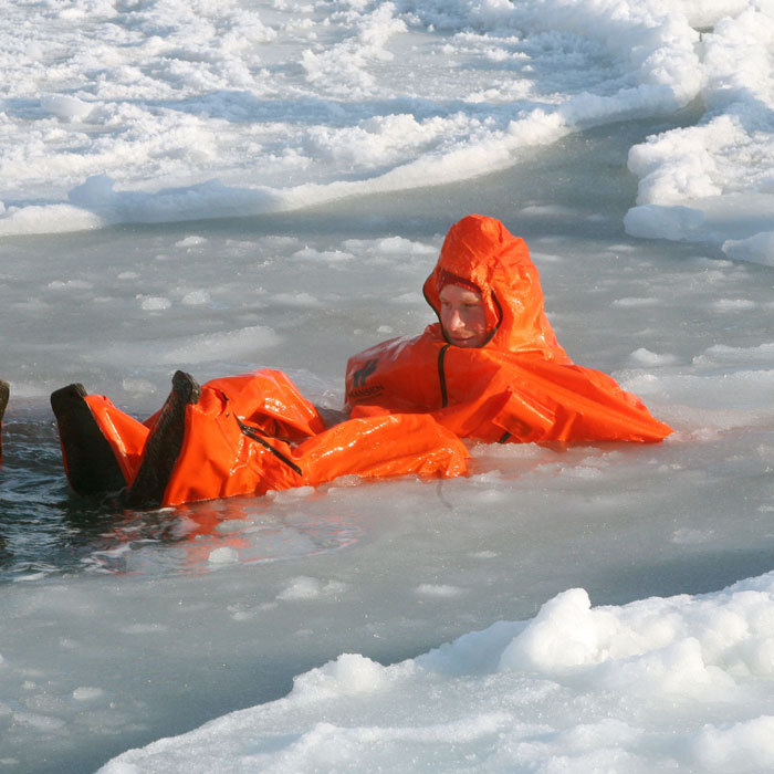 Ice, ice baby! Harry tried out an immersion suit on the island of Spitsbergen during his North Pole preparation with the Walking with the Wounded expedition team in 2011.