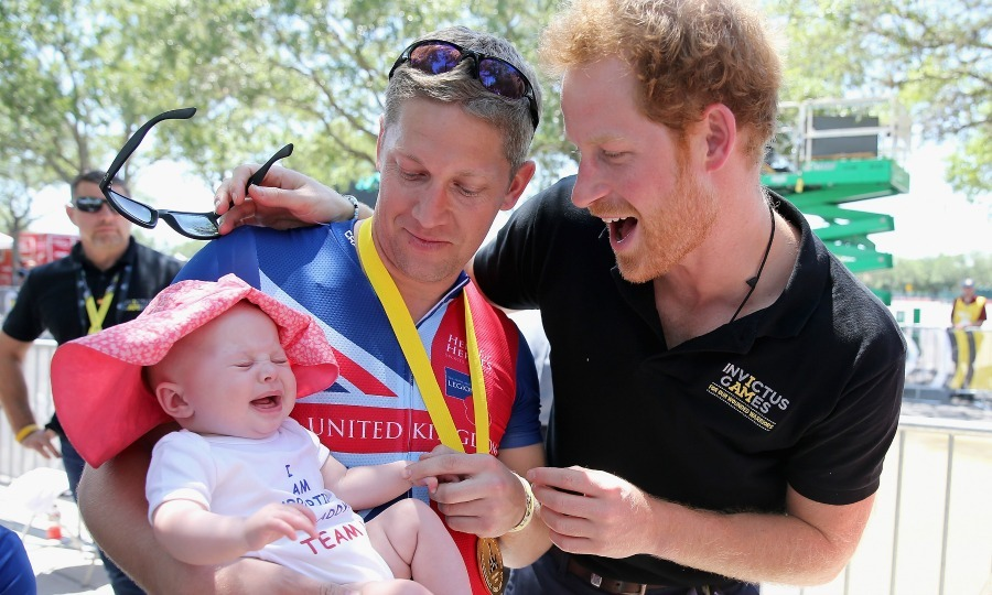 There was no way that Harry was going to let little Pippa out-excite him during his meeting with her and her father British double gold winner (recumbant cycling) Rob Cromey-Hawke at the Invictus Games in Orlando, Florida in 2016. 