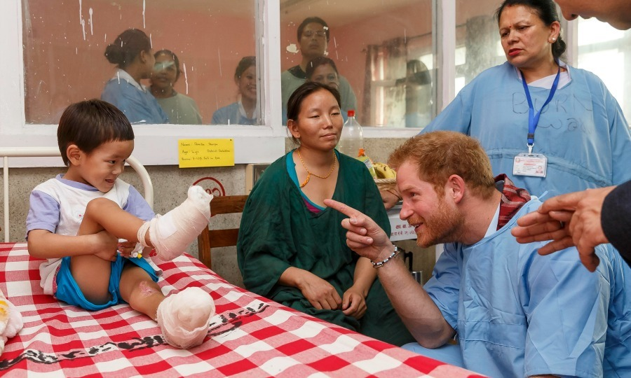 Prince Harry gave a little bit of encouragement to a young burn victim at the Kanti Children's Hospital in Nepal in 2016. 