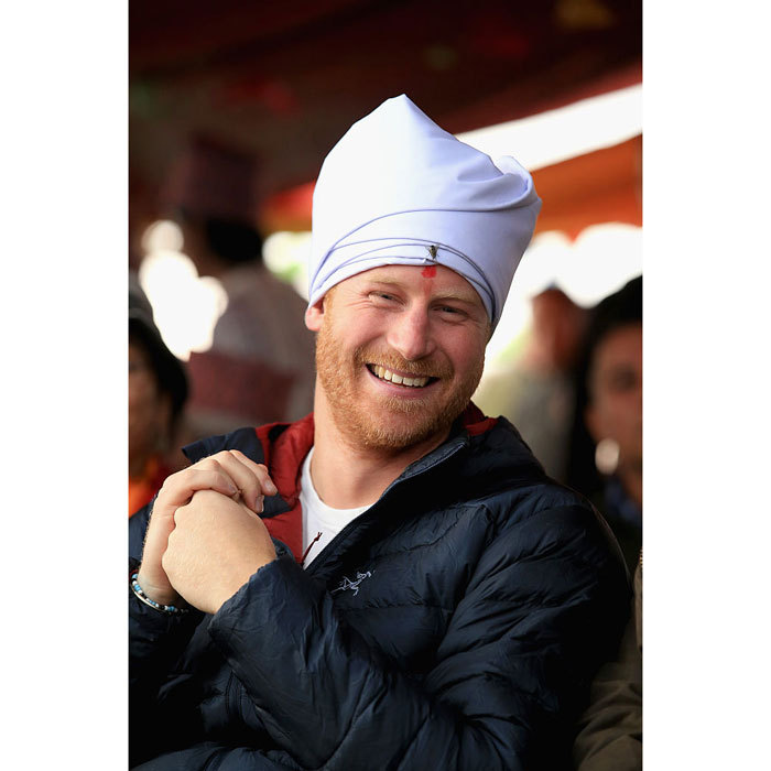 The royal beamed in 2016 as he met villagers in the Himalayan foothills. Harry donned a pheta turban for the visit, after being given the honor of being 'village head man.'