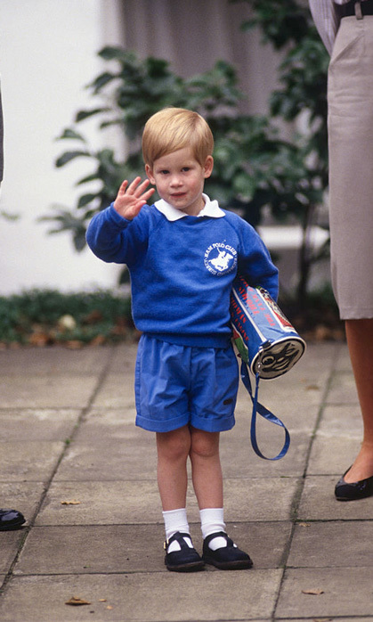 Off to school. The royal looked eager to learn on his first day of school at Mrs. Mynors' Nursery School.