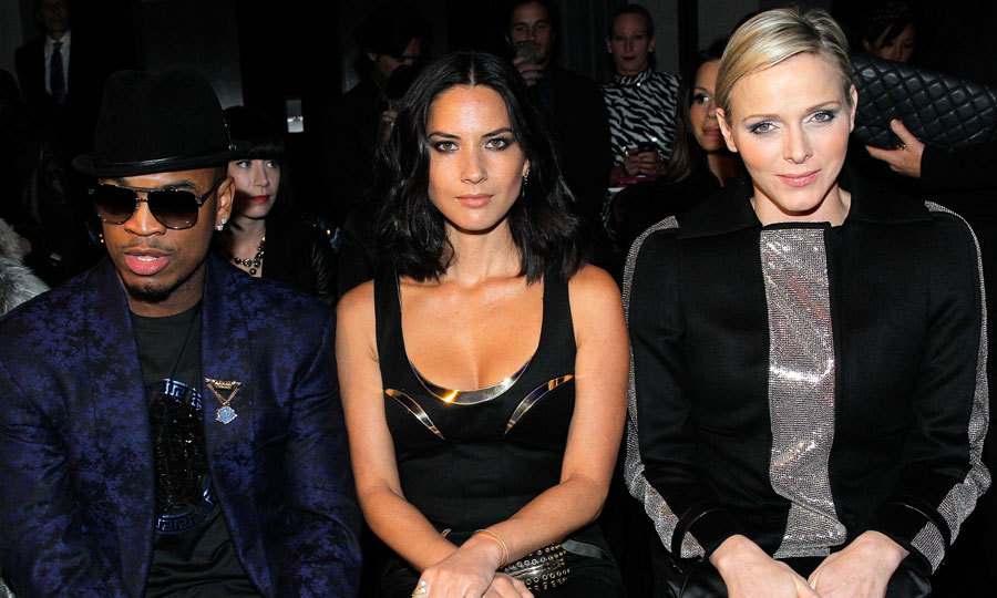 Singer Ne-Yo, actress Olivia Munn and Princess Charlene of Monaco sat front row at the Versace Spring/Summer 2013 Haute-Couture show during Paris Fashion Week at the Le Centorial.