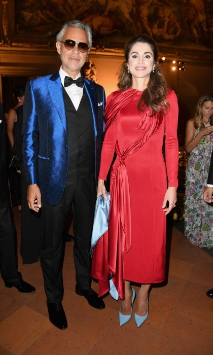 Queen Rania and Andrea Bocelli attended the Celebrity Fight Night Gala at Palazzo Vecchio in Florence, Italy. 