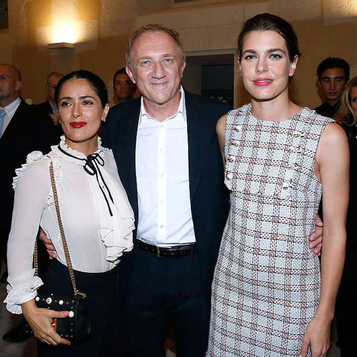 "Sandwiched between two beauties! Francois-Henri Pinault posed alongside his wife Salma Hayek (L) and <a href=""https://us.hellomagazine.com/tags/1/Charlotte-Casiraghi/""><strong>Charlotte Casiraghi</strong></a> (R) at the 4O Rue de Sevres preview in Paris, where a selection of work from the Pinault Collection were presented in the Chapel built under Louis XIII. 