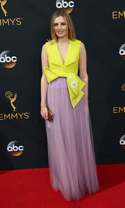 <i>Downton Abbey</i> actress Laura Carmichael attended the 68th annual Emmy Awards wearing a Delpozo dress that featured a yellow corset and lilac tulle skirt.
