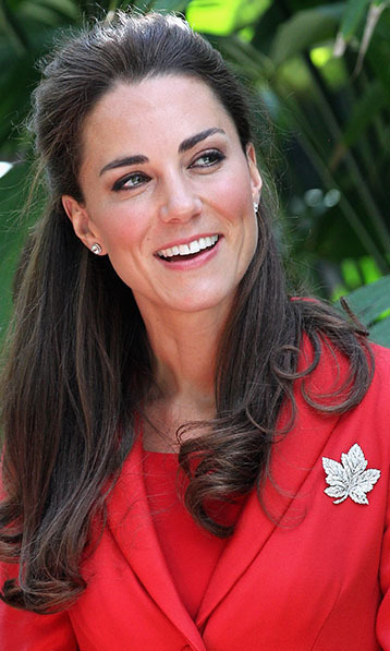 When Kate visited Canada in 2011, she wore the Queen Mother's maple leaf brooch. It was borrowed from the Queen Elizabeth, who wore the heirloom on her 1951 tour of Canada.