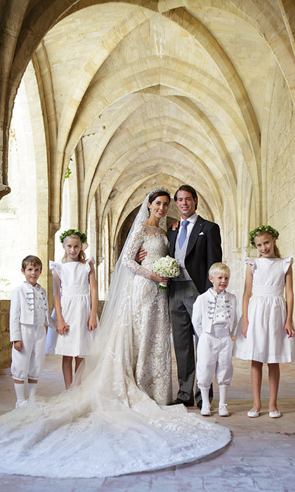 The bride and groom with their attendants: Prince Noah of Luxembourg, Prince Gabriel of Luxembourg, Flora Doimi de Frankopan and Katharina Doimi de Frankopan.