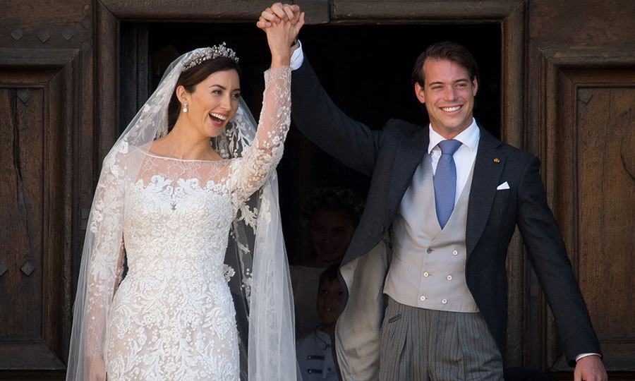 The couple were overjoyed as they left their wedding ceremony hand in hand as husband and wife.