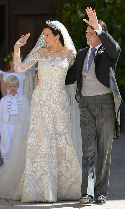 Bathed in sunlight, Princess Claire was picture-perfect in her stunning wedding gown by Elie Saab.