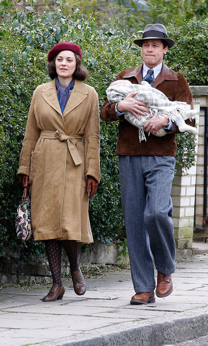 The handsome dad-of-six was snapped in March filming scenes with his on-screen wife, Marion Cotillard in Hampstead, London for their romantic drama film <i> Allied </i>.