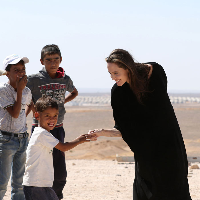 The UN Special Envoy returned to the Syrian refugee camps in Jordan chatting with children during her visit. The actress held a press conference at the Al- Azraq camp speaking out for the displaced children.