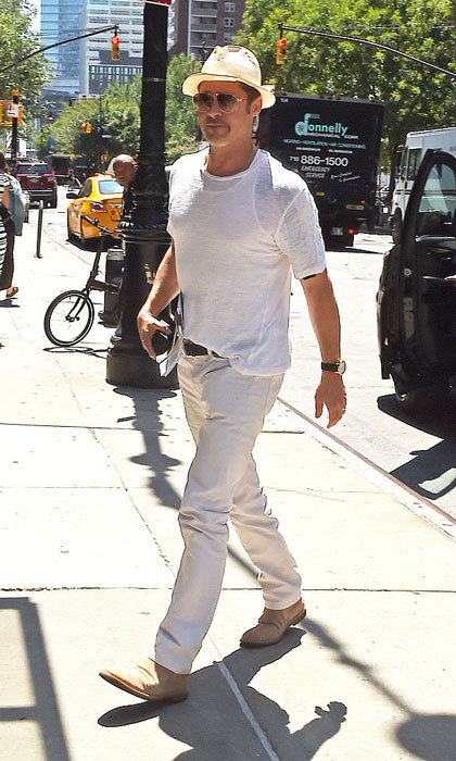The actor stepped out solo in New York City, days after celebrating his twins, Vivienne and Knox's eighth birthday in July with wife Angelina at a café for breakfast in West Hollywood.