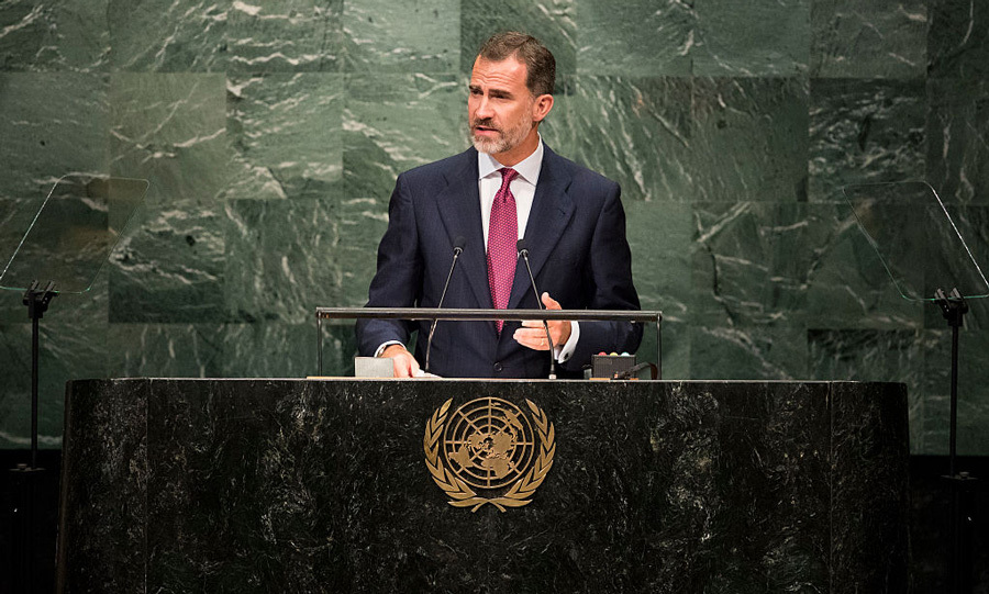 King Felipe VI of Spain addressed the United Nations General Assembly at the UN headquarters in New York City stressing his country's respect for the UN Charter.