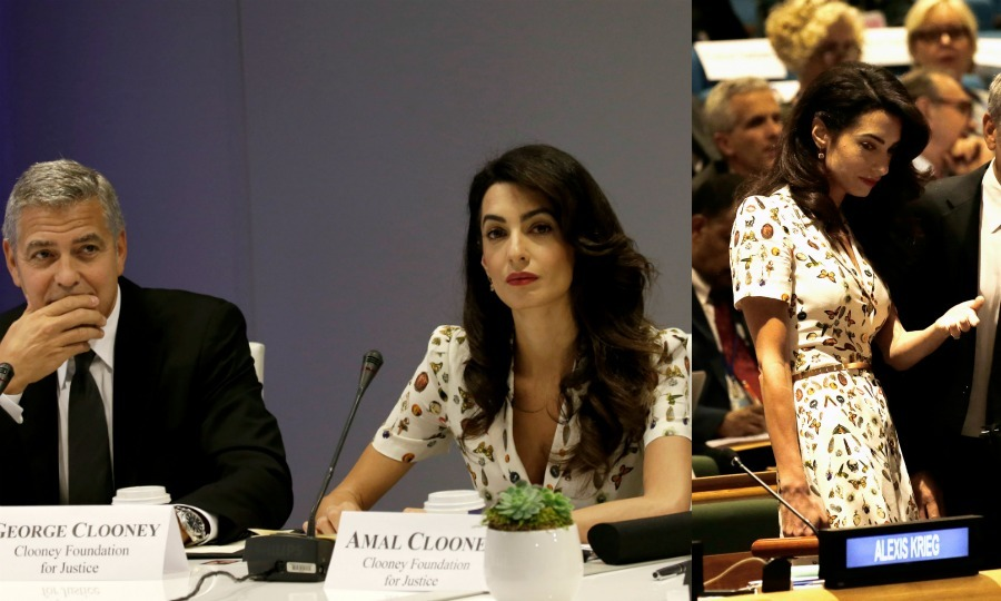 "Amal donned a colorful Alexander McQueen tea dress for a day at the United Nations with her husband George. The lawyer opted for the same ""Obsession Multi Print"" design, previously worn by Kate Middleton at Wimbledon.