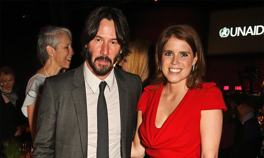 "Princess Eugenie couldn't stop smiling when she met <i>The Matrix</i> star <a href=""https://us.hellomagazine.com/tags/1/keanu-reeves/""><strong>Keanu Reeves</strong></a> at the UNAIDS Gala during Art Basel 2016, in Switzerland.