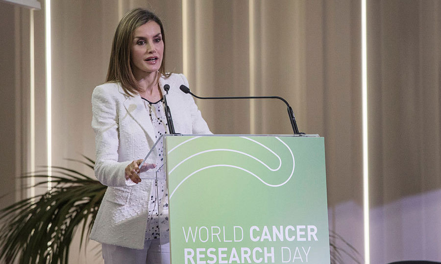 From New York to Barcelona. Fresh off her trip to the UN General Assembly, Queen Letizia attended a cancer research event in support of World Cancer Research Day.