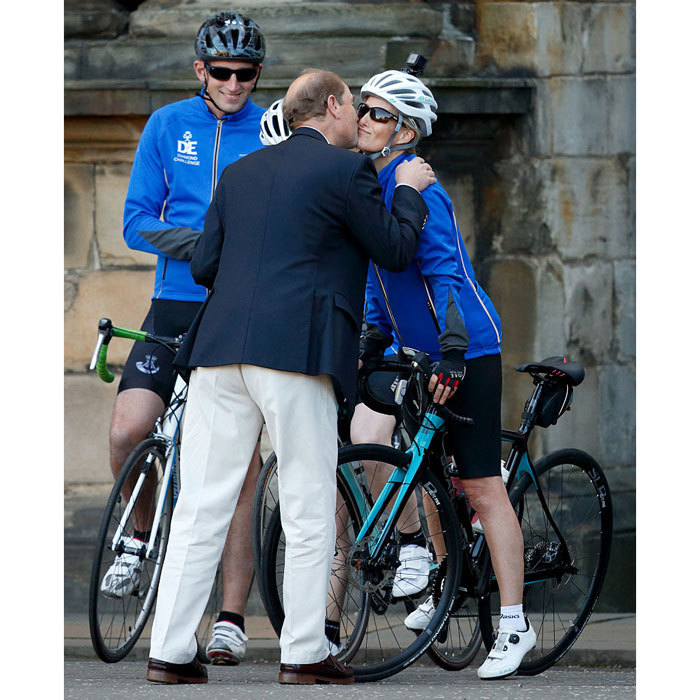 Sophie Wessex received a kiss from her husband Prince Edward before embarking on her Diamond Challenge cycle ride from Edinburgh, Scotland to London, England.